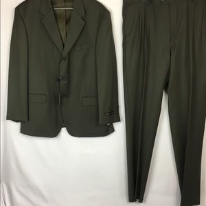 Jones New York Mens 2 Piece Green Wool Blend Suit